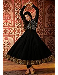 Utsav Fashion Women's Black Cotton Readymade Anarkali Churidar Kameez-Medium
