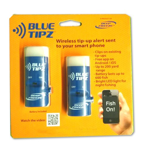 Ice fishing Tip Up Alert Transmitter - 2 PACK - Blue Tipz - Sends alert to your smart phone + Blinking light + Application to keep fishing
