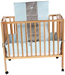 Baby Doll Bedding Cozy Carousel Minky with Embroidery Mini Crib/ Port-a-Crib Bedding Set, Blue