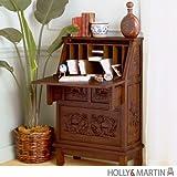 Holly & Martin Logan Hand-Carved Secretary Desk in Warm Pecan