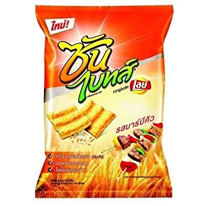 Frito Lay Chips - Sun Bite : Multi-grain Chips Barbecue Barbeque Spicy (62g) - Thai Language & Thai Style (Just Launch for Healthy and Vegetarian) Baked Not Fried by Frito Lays - Thailand