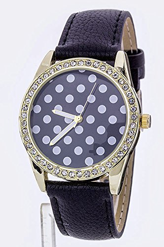 Trendy Fashion Jewelry Polka Dots Crystal Fashion Watch By Fashion Destination | (Black)