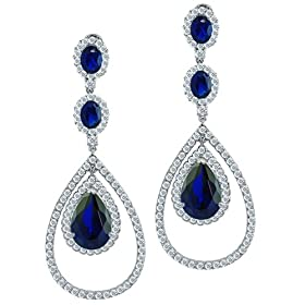 9b702f70d Bling Jewelry 8-carat Blue Sapphire Color CZ Triple Teardrop Chandelier  Earrings: Jewelry