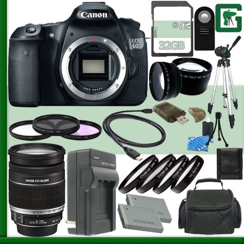 Canon Eos 60D Digital Slr Camera And Canon 18-200Mm Lens + 32Gb Green'S Camera Package 2
