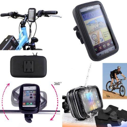 SAVFY - Negro Soporte Funda Cascara Bolsa Para Bicicleta Impermeable 360 º Gira Impermeable Agua Funda Para iphone4 4S / 5 / 5S
