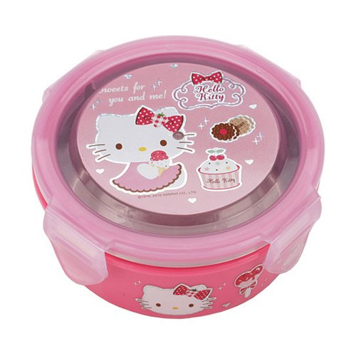 Hello Kitty (K-18) Round Type Stainless Steel Bento Lunch Box Ladies Lunchbox