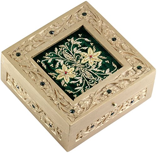 **Friendship Day Gifts for her** - Green Jewelry Box - SouvNear Wooden Zari Decorative Keepsake - 6 Inch Hand Carved Square Wood Box