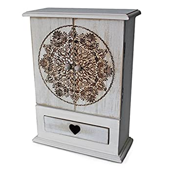 gbHome GH-6780 Decorative Wooden Storage Cabinet With Engraved Art, Mini Armoire And Drawer For Jewelry, Memento Case, Wood Holder For Rings, Necklaces, Earrings & Pins, Rustic Antique Distressed Look