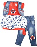 Gowri Marketing Girl's Denim Clothing Set (GM00023, Blue and Red, 1-2 Years)