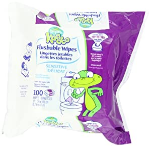 Pampers Kandoo Sensitive Flushable Wipes, 100 Count (Pack of 6)