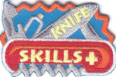 KNIFE-SKILLS-IRON-ON-EMBROIDERED-PATCH-Camping-Vacation-Outdoors-Woods