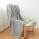 Homehalo  ブランケット 毛布 ニット 軽くあったか 柔らかや ベッドスロー 綿 ベッド ソファー用  オフィス用 ひざ掛け 無地 フリンジ ストール 大判 130cm*160cm (グレー)