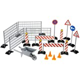Bruder 02409 Construction Set with Railings, Site Signs, Barrow and Pylonsby Bruder