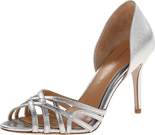 Badgley Mischka Women's Muse Dress Sandal, Silver, 7.5 M US