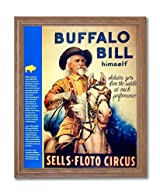 Buffalo Bill Cowboy Western Rodeo Vintage Poster Ad Home Decor Wall Picture Oak Framed Art Print