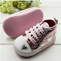 Soft Sole Toddler Baby Girls Princess Love Casual Hip-Hop Sports Shoes (6-9 months, Pinks)