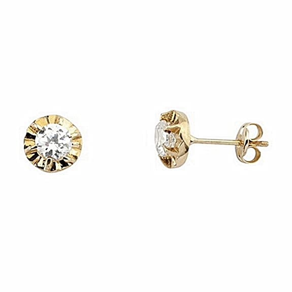 18k gold earrings zirconia claw 4,25mm. close pressure [6634P]