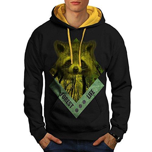 raccoon-forest-life-yellow-wood-men-new-black-gold-hood-xl-contrast-hoodie-wellcoda
