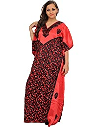 Exotic India Hibiscus-Red And Black Kaftan From Kashmir With Ari-Embroider - Red