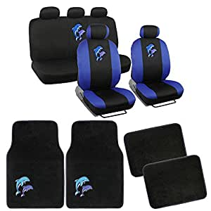 ocean blue dolphins seat covers and floor mats for car suv auto accessories. Black Bedroom Furniture Sets. Home Design Ideas