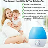Premium Cool Mist Ultrasonic Humidifier - No Noise - 7 Color LED Lights - 7 Hours+ Use - Auto Shut-off & ETL Safety Approval for Children