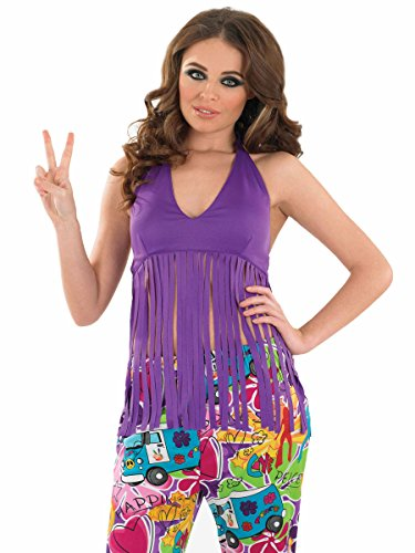 Fun Shack Ladies Fringed Neon Purple Hippie Top - XX-LARGE
