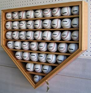 46 Baseball Display Case Cabinet Holder Shadow Box w  UV protection (B46-OA) by NULL