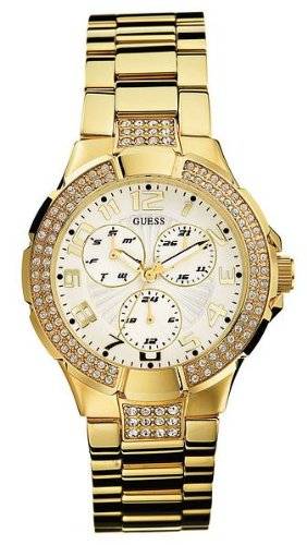 GUESS? Women's 13537L Crystal Accented Gold-Tone Watch