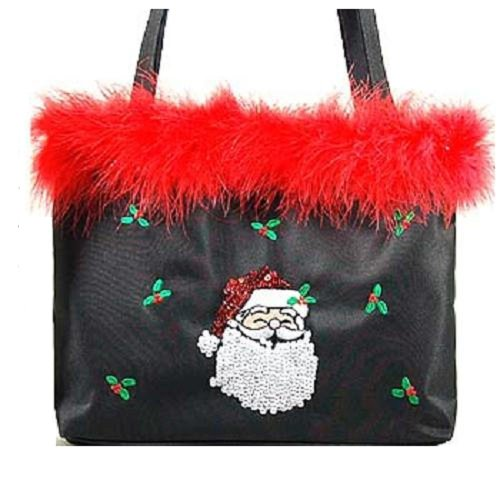 Christmas Purse ~ Embroidered Santa ~ Black w/Red Feathers