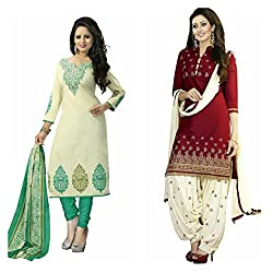 Maxthon Fashion Women's Printed Unstitched Regular Wear Salwar Suit Dress Material (Combo pack of 2)(Max_Combo_7003)(Max_3030_Rama)(Max_3002_Maroon)