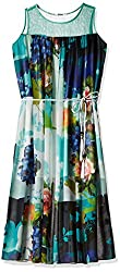 Soie Women's Pleated Dress (6199(B)PRINT_Large)