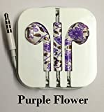 Goldstar® Earphones Headphones Headset with Remote Mic & Volume Controls For Apple iPod iPad iPhone 4 4S, iPhone 5 5S, 5C, 5G, 6, 6Plus (Purple Flowe)