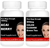 DOUBLE STRENGTH ACAI BERRY + Green Tea COLON CLEANSE WEIGHTLOSS (SPECIAL OFFER PRICE) Lose Unwanted Weight Fast Highest Strength Slimming Dieting Pills Fat Burner Blocker