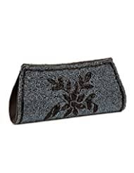 Voylla Voylla Enthralling Grey And Black Floral Beaded Clutch