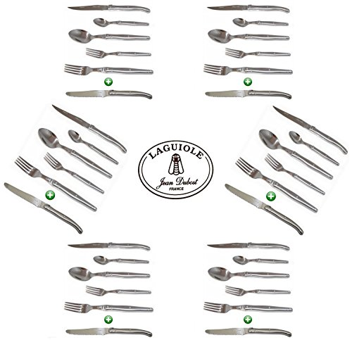 Laguiole Dubost - In All 25/10 Stainless Steel - Complete 36 Pieces Flatware Set For 6 People (New Exclusive 6-Pcs Per Person Place Setting : Includes Round Tip Table/Butter Knife - Original French Inox Full Family Quality Cutlery Table Dinner Setting - D