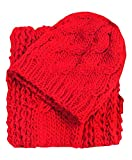 All in One Winter 2 PC Woven Scarf and Hat Set for Women, RED