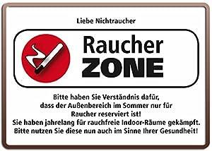 Raucher Sprüche Blechschild 10x15 Cm Quot Raucher Zone Liebe Nichtraucher  Quot Spruch Sprüche Sign Blechschilder