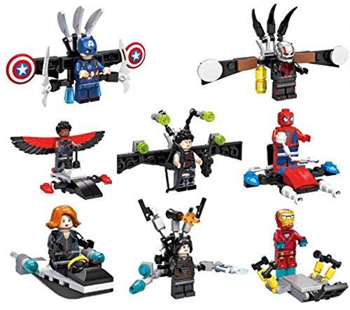New Hot Mini Toys Avengers - Iron Man Spiderman Falcon Black Widow Minifigures Building Brick Blocks Toy for Children Kids, 8Pcs/Set ABS Plastic Multi-color