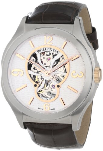 Philip Stein Men's 17A-SKFW-ABR Prestige Automatic Brown Alligator Strap Watch