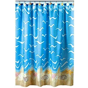com seashell beach nautical theme shower curtain home kitchen