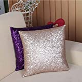 Stylish Comfy Solid Color Sequins Cushion Cover Throw Pillow Case Cafe Decor (champagne)
