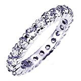 14K White Gold Round Diamond Ladies Eternity Wedding Anniversary Stackable Ring Band (1.00 CT, H-I Color, I1-I2 Clarity)