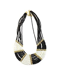 Beadworks Statement Beaded Necklace In Black & White Color