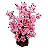 Fancy Mart Thefancymart artificial Blossom in pink color Flowers with Wooden pot Style Code- 160