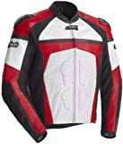 Cortech Mens Adrenaline Leather Motorcycle Jacket White/Red Large L