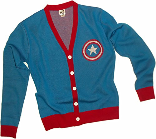 Shield Logo -- Captain America Adult Knit Cardigan Sweater