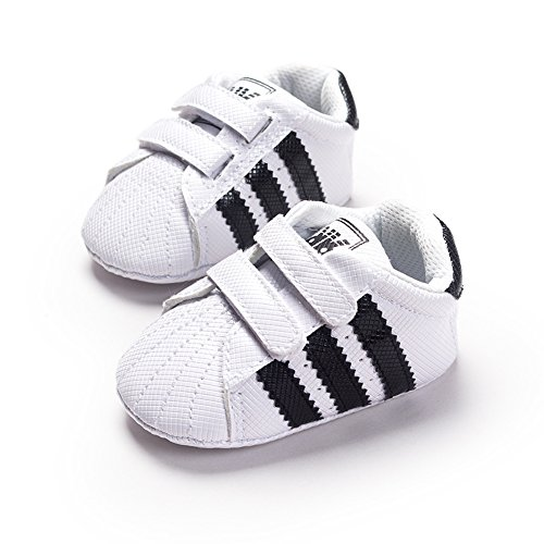 LiveBox Newborn Baby Boys' Premium Soft Sole Infant Prewalker Toddler Sneaker Shoes (L: 12~18 months, White) (Baby Shoes For Boys compare prices)