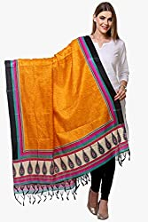 Riti Riwaz Yellow & Black Printed Art Silk Dupatta BG190