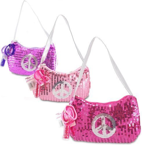 Expressions Girl / Sequin Peace Sign Handbag, One Assorted Pink, Purple or Fuschia - 1