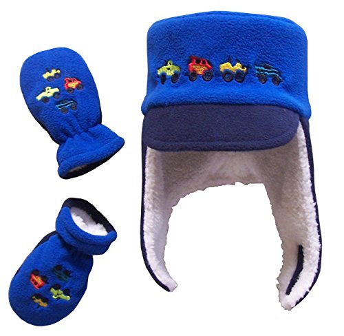 N'Ice Caps Boys Sherpa Lined Micro Fleece Embroidered Hat and Mitten Set (6-18 Months, Royal/Navy Infant)